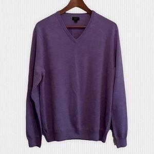 J.Crew Lavender Merino Wool V Neck Sweater Men's M